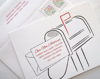 Custom Letterpress Moving Announcements - Mailbox Personalized Moving Announcement