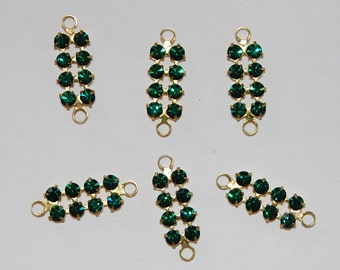 Vintage Emerald Rhinestone Double Bar Connector Beads 20mm 2 Ring 24pp Brass