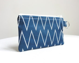 Chevron Zippered Bag Blue and Ivory / Coin Purse / Id Case / Gadget Pouch with Split Ring - READY TO SHIP