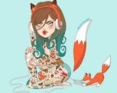 A4 Foxy Tattooed Lady Print