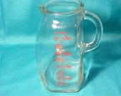 GLASCO Clear Glass Measuring Pitcher Vintage, 1 Quart /4 Cup/32 Oz. Baby Formula Measuring Pitcher USA, Liquid Measuring Pitcher