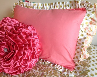 Coral and Glitz Gold Dot Standard Pillow Sham-SALE-In Stock & Ready to Ship!