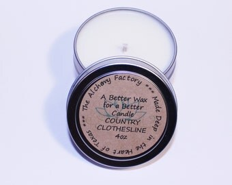 Country Clothesline Candle, Linen Scented Candle, 4oz Tin Candle, Soy Wax Candle, Clean Scented Candle, Clean Clothing Candle