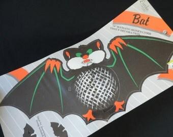 bat honeycomb paper die cut vintage Halloween decoration hanging vampire bat Eureka new old stock