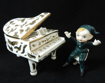 1950s pixie piano player vintage 1956 Lipper and Mann elf figurine pixie shelf sitter pixie Liberace