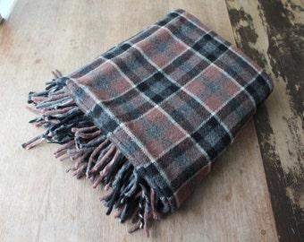 Vintage Plaid Blanket Wool Lap Throw Black Mauve Gray Grey Thick Warm Winter Fringe Home Decor Rustic