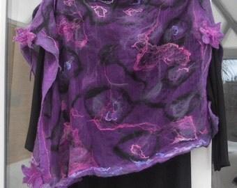 Nuno felted scarf felted poncho silk chiffon top pink purple merino wool poncho scarf stole shawl felt flower ties