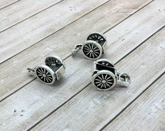 Pioneer Handcart Charm, hand cart pioneer trek, small silver handcart bracelet charm, wagon charm,  LDS charms, be charmed handcart BC01