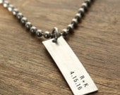 Mens Necklace Personalized Date and Initials Custom Necklace Personalized Necklace For Him Boyfriend Gift Personalized Necklace Mens Jewelry