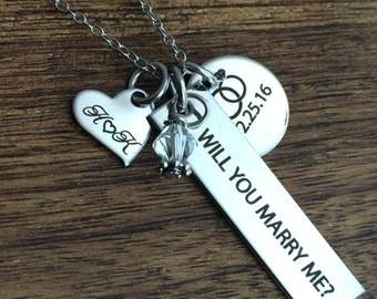 Marry Me Jewelry Personalized Will You Marry Me Necklace Personalized Proposal Gift Asking Her to Marry Me Gift For Her Proposal