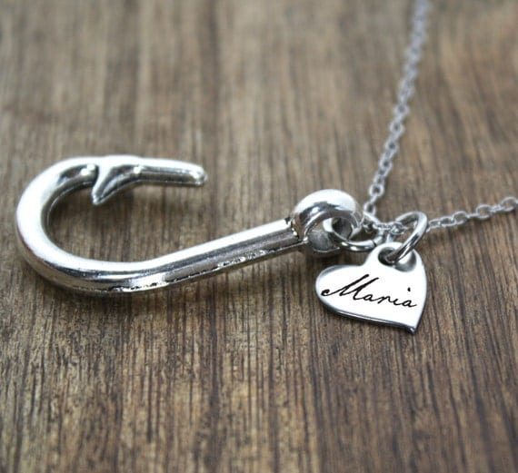 Personalized name heart fish hook necklace by for Fishing hook necklace