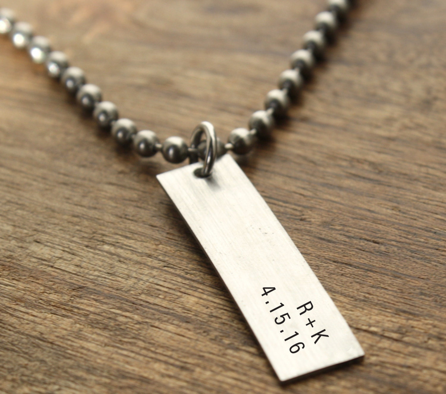 mens necklace personalized date and initials by
