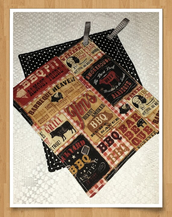 Vintage BBQ Ads Theme Quilted Potholders Pair - Brick Red, Black, White