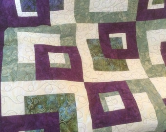 Handmade Purple and Green Block quilt