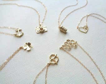 Gold Clover Necklace Minimalist Four Leaf Clover Necklace Layered Necklace Choose Pendant Shamrock Camera Anchor Heart Honey Comb Necklace