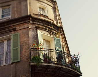 "New Orleans Photography French Quarter  ""City Oasis"" Print. Mardi Gras. Wrought Iron Balconies."