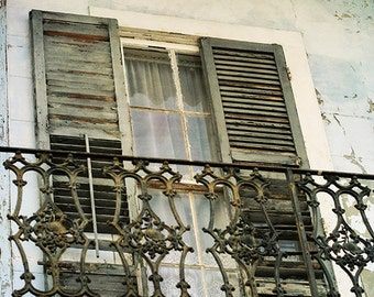 "New Orleans French Quarter Photograph ""Beautiful Decay"" for Sale. Art Print. Mardi Gras. Historic Building. Blue Decay."