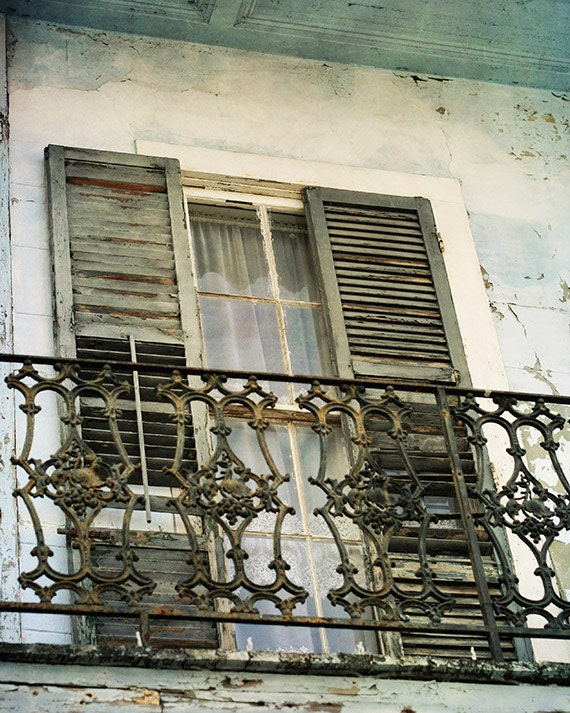 """New Orleans French Quarter Photograph """"Beautiful Decay"""" for Sale. Art Print. Mardi Gras. Historic Building. Blue Decay."""
