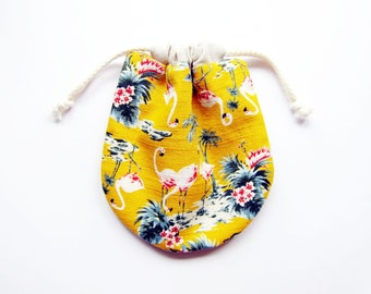 Drawstring Pouch / Drawstring Bag for Sunglasses, Jewelry, Makeup, Travel Organizer - Flamingos