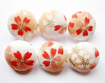 Sewing Buttons / Fabric Buttons - Cherry Blossoms - 6 Medium Buttons