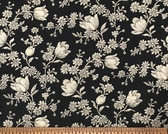 Joan Kessler for Concord Fabrics Cotton Black Floral Colorway 1 Yard