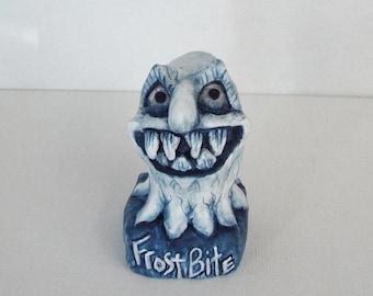Frost Bite Winter Ice Monster Handmade OOAK Folk Art Winter Decor