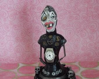Tic Toc Gothic Mixed Media Art Sculpture Halloween Handmade Folk Art