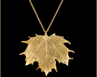 Real Sugar Maple Leaf Dipped In 24k Gold Pendant - Real Dipped Leaf - In Gift Box