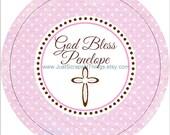 Printable BAPTISM tags -  pink polka dot - RESERVED