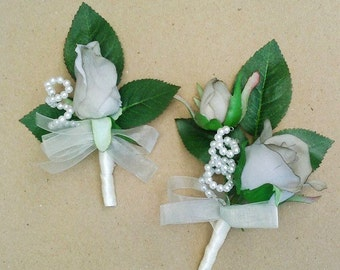 Boutonniere OR Corsage Grey Silk Rose, Bud, Pearl Accent Wedding, Prom.