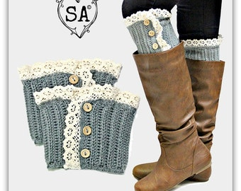 Grey Lace & Button Boot Topper Cuff Warmer