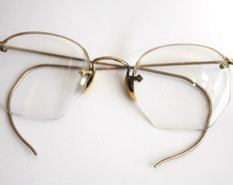 Antique 1920s Eyeglasses // 20s 30s Rare Vintage Frames // Art Deco //  Hexagon Lens // AM004
