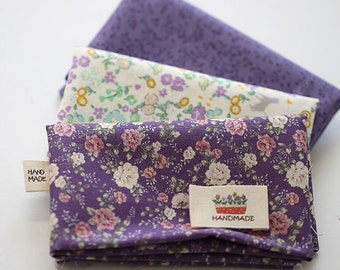 Lovely Cats violet Garden on Cotton FAT Eighth set of 3, U328