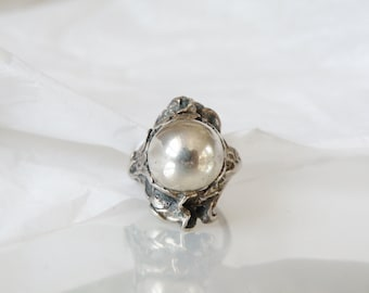 Art Nouveau Vintage Sterling Silver 925 Rare Orb Ball Bead Domed Floral Ring Size 6.5