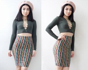 Retro Print Bodycon High Waist Knee Length Skirt XS S