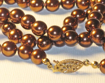 Vintage Long Knotted Copper Brown Faux Pearl Necklace (N-1-4)