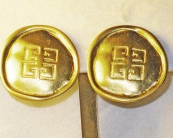Vintage Givenchy Satin Gold Gilt Signature Logo Clip Earrings  (E-2-2)