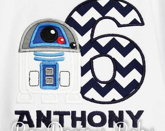 Star Wars Birthday Shirt, R2D2 Birthday Shirt, Boys Birthday Shirt, Personalized Birthday Shirt, Any Age, Other Chacters Available