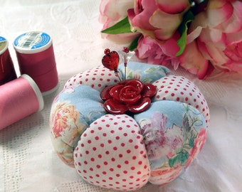 Roses and Dots Patchwork Tomato Pincushion- Made to Order
