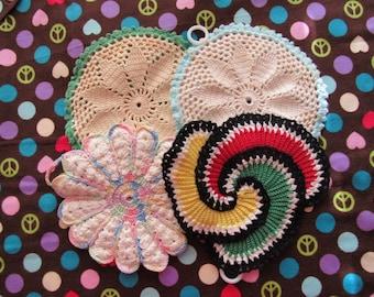 Set of 4 Vintage Hand Crocheted Pot Holders