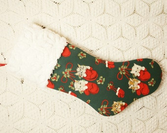 Sweet Kittens in Mittens Christmas Stocking with Hofmann Vintage Chenille Cuff