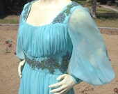 Greek Goddess Gown Vintage 60s 70s Mike Benet Formals Dress Gown Chiffon Sequins 34 bust 27 waist S M