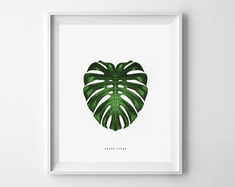PRINTABLE wall art. Green Thumb series: MONSTERA 11x14. botanical, green, room decor, modern, natural