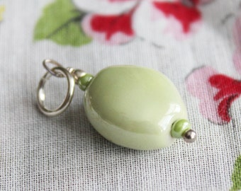 Light Sage Green Pendant | Green Ceramic Bead Sterling Silver Pendant Necklace | Spring Wedding Jewelry | Bridesmaid Pendants