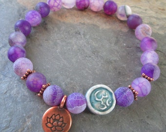 Purple Crackle Agate Meditation Bracelet - Copper Lotus & Raku Om ~ Yoga, Spiritual Jewelry