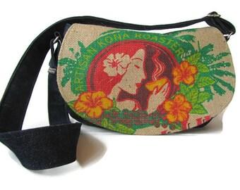 MTO. Custom. Island Girl Burlap and Denim Crossbody Bag. Repurposed Honolulu Coffee Company Sack. Handmade in Hawaii by Manila Extract.