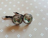 12mm round lever back earrings - cobra snake vintage tattoo