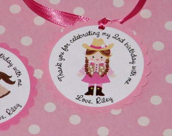 Cowgirl Favor Tags -Customizeable Set of 12