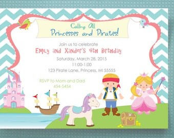 Pirate and Princess Birthday Invitations PRINTED Invitations, Pirates, Princesses