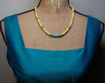 Yellow turquoise, Sea Sediment Jasper, 925 Silver Necklace and Earrings